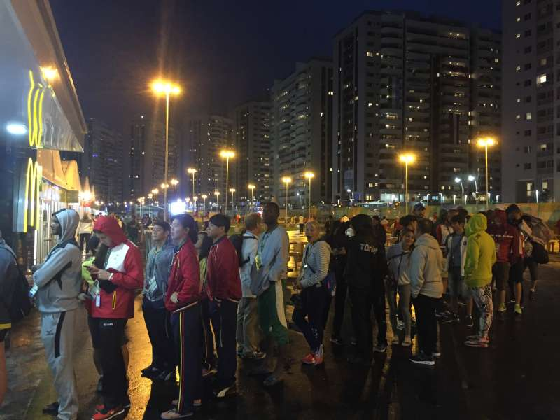 One of the shorter lines at the Olympic Village McDonald's in Rio de Janeiro, Brazil.