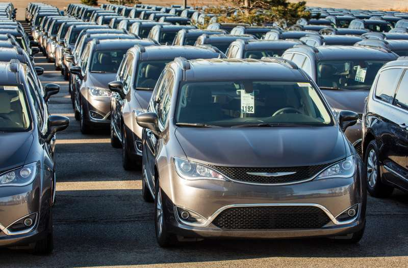 A lot full of 2017 Chrysler Pacificas.