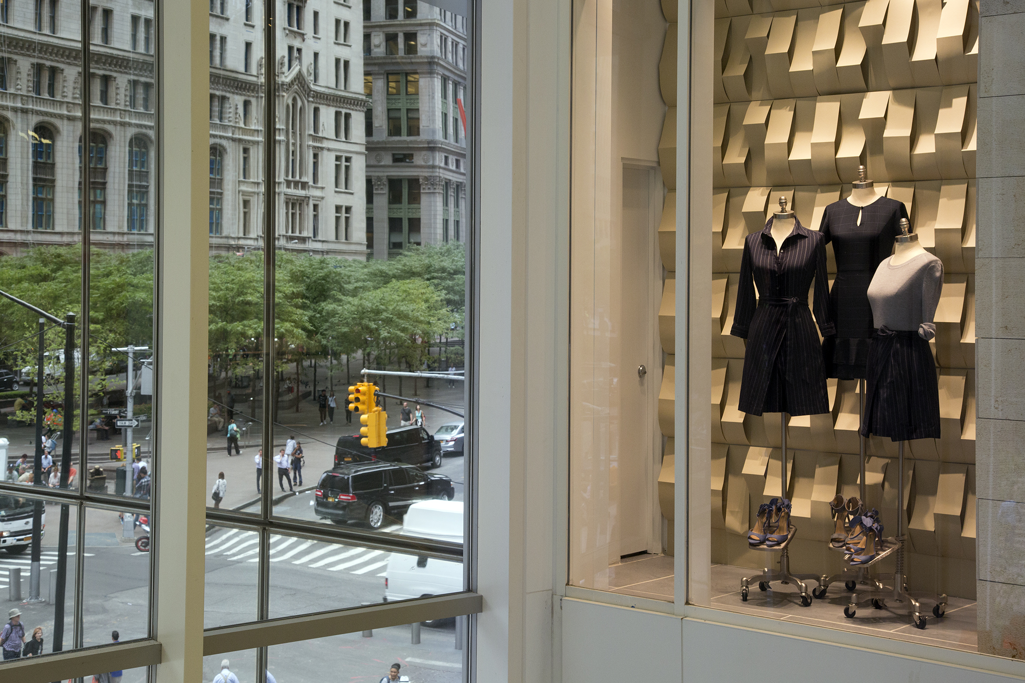 Banana Republic store windows overlooking Liberty Street, on the second floor of Westfield World Trade shopping mall, New York.