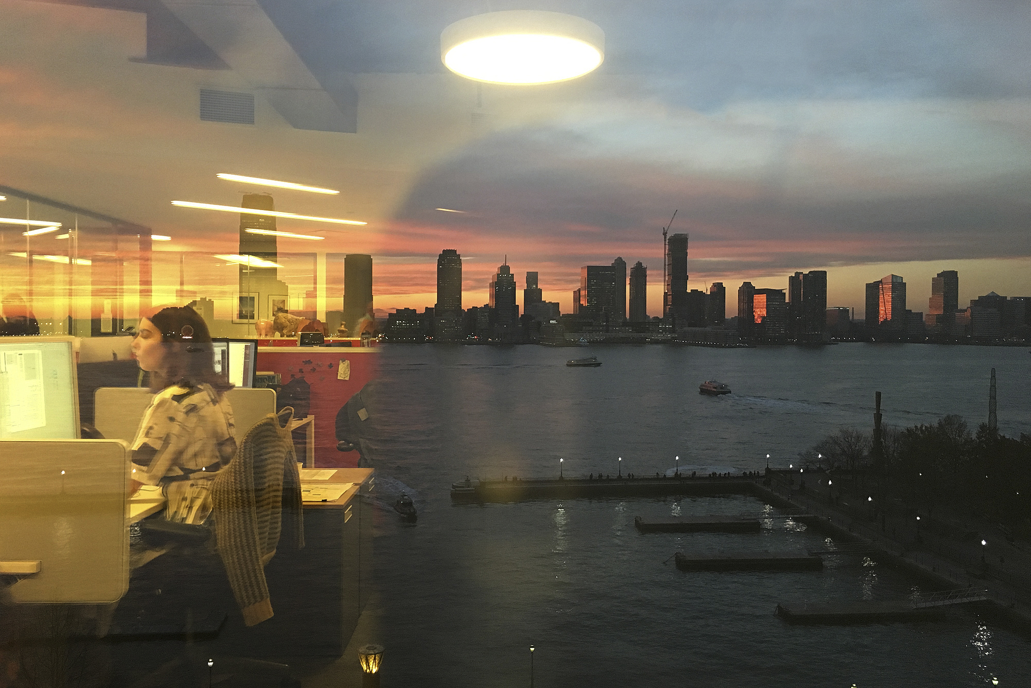 The view of New Jersey and the Hudson River from Time Inc.'s 225 Liberty offices, New York.
