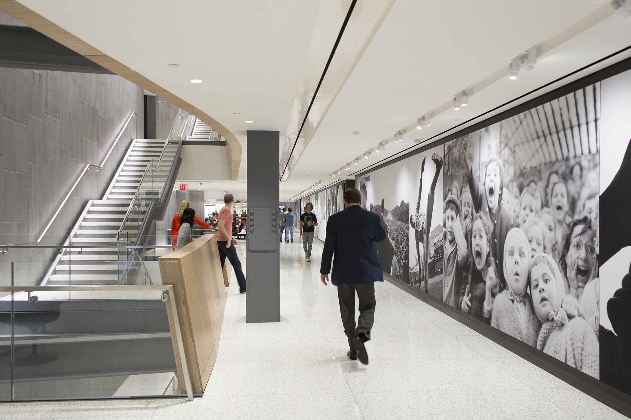 The stunning design of Time Inc.'s offices at 225 Liberty Street won CoreNet NYC's 2016 Project of the Year Award and feature a selection of mural-sized photographs from the Time-Life Picture Collection on the walls of each floor.