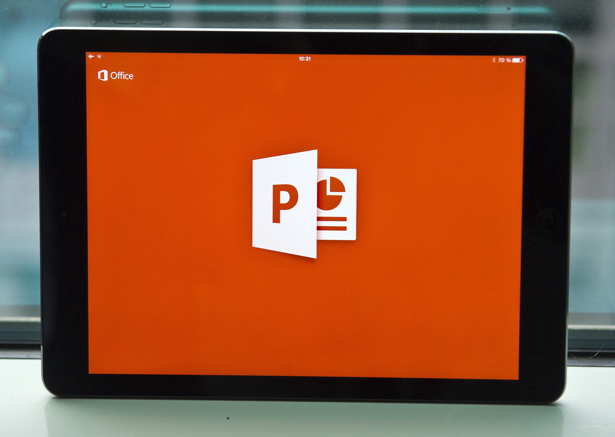 The PowerPoint App of Microsoft Office is displayed on the screen of an iPad Air in Berlin, Germany, March 28, 2014.