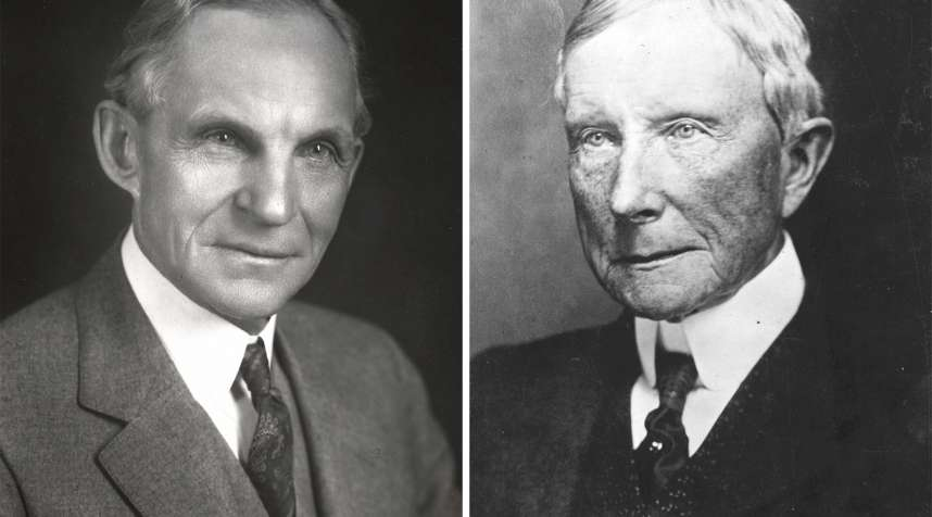 (left) American engineer and automobile manufacturer Henry Ford (1863-1947); (right) American industrialist and philanthropist John Davison Rockefeller (1839 - 1937)