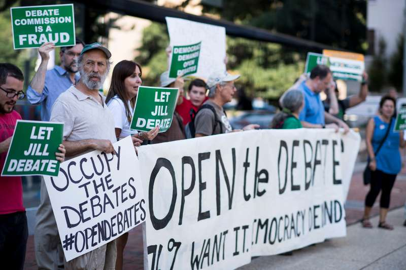Supporters of Green Party Presidential candidate Jill Stein protest in front of the Commission on Presidential Debates in Washington on Sept. 14, 2016, calling for the inclusion of Stein and Libertarian candidate Gary Johnson in the upcoming Presidential debates.