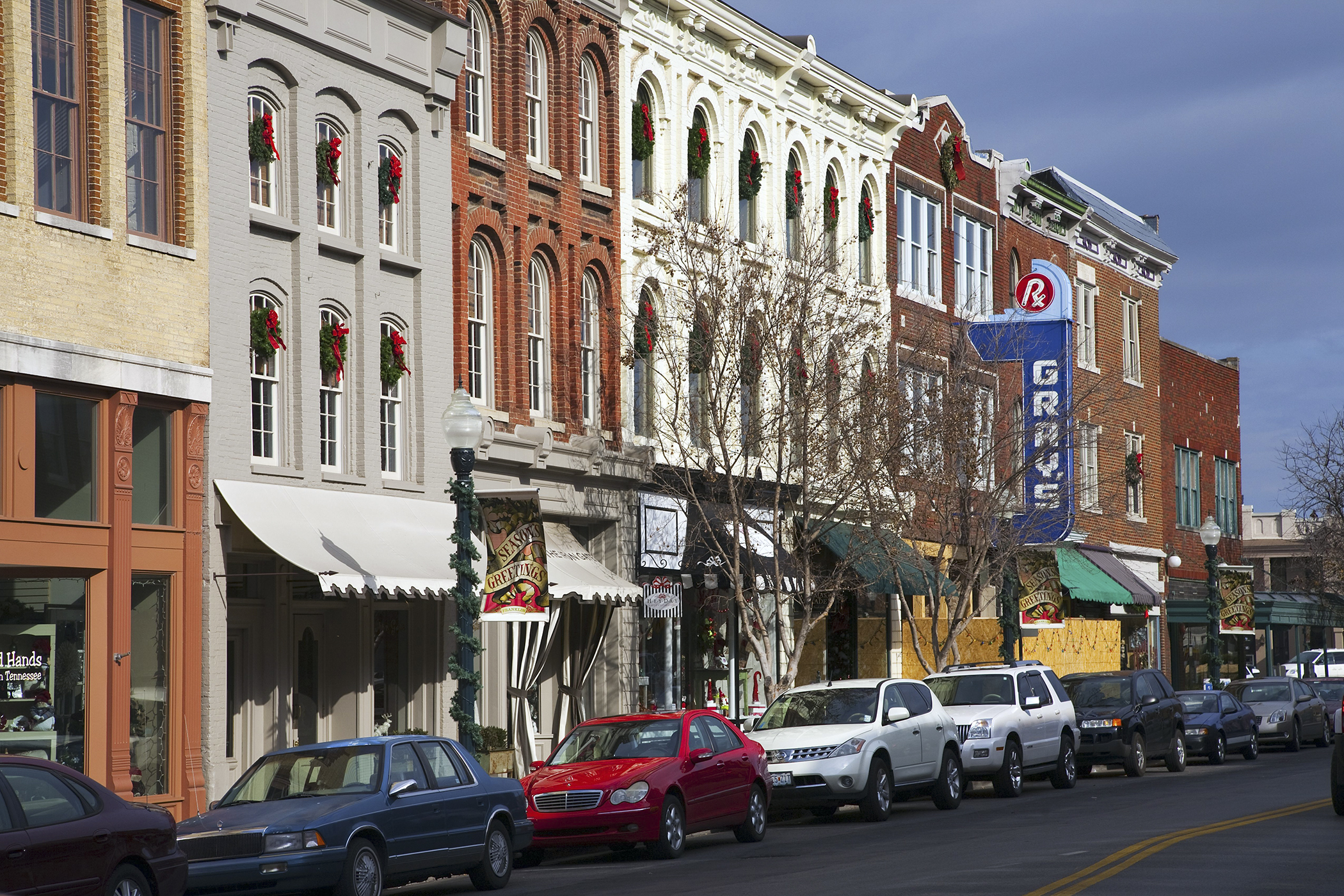 <strong>5. Franklin, Tennessee:</strong> Roughly a 30-minute drive to the state's capital city, Nashville, Franklin is home to numerous corporate headquarters that support an 11.9% projected job growth rate. Pictured: The red-brick storefronts of historic Main Street.