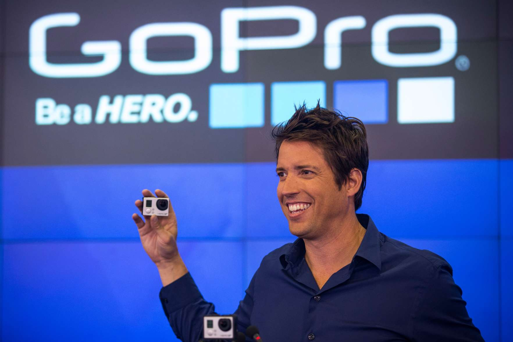 Nick Woodman, founder and CEO of GoPro speaks during the company's initial public offering (IPO) at the Nasdaq Stock Exchange on June 26, 2014.