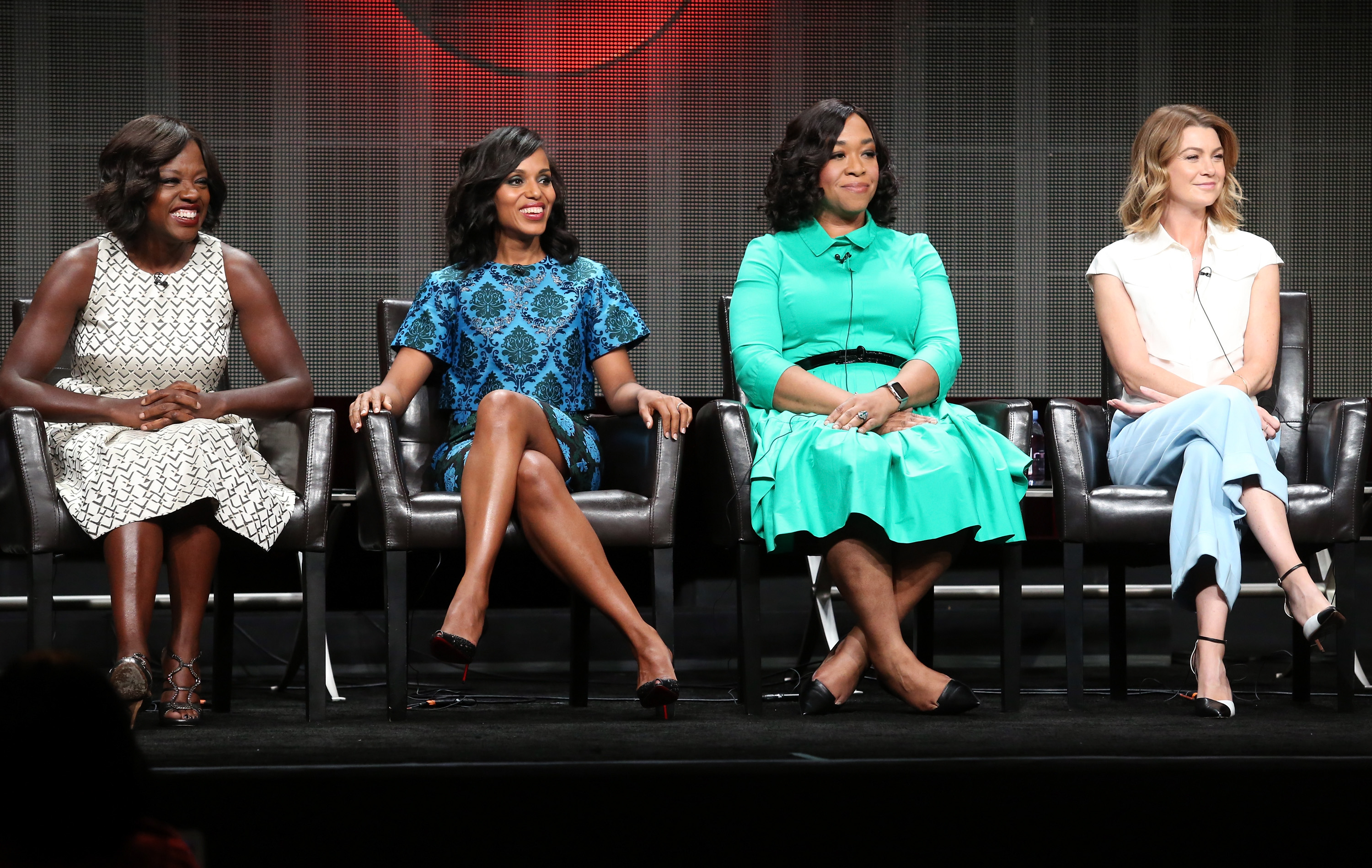 BEVERLY HILLS, CA - AUGUST 04:  (L-R) Actresses Viola Davis, Kerry Washington, executive producer Shonda Rhimes and actress Ellen Pompeo speak onstage during the 'Grey's Anatomy,' 'Scandal,' and 'How To Get Away With Murder' panel discussion at the ABC Entertainment portion of the 2015 Summer TCA Tour at The Beverly Hilton Hotel on August 4, 2015 in Beverly Hills, California.  (Photo by Frederick M. Brown/Getty Images)