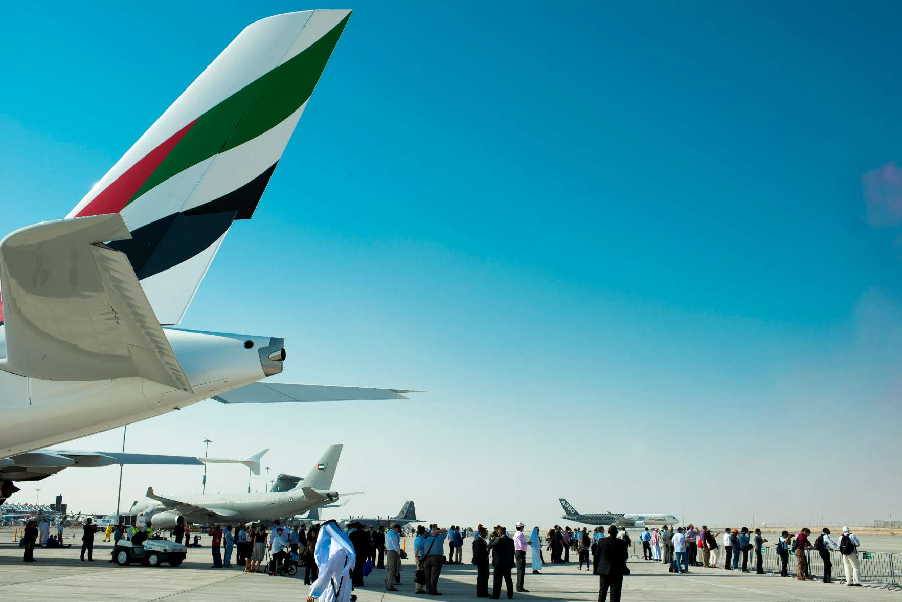 An Airbus A380-800, manufactured by Airbus SAS and operated by Emirates is displayed during the 2015 Dubai Airshow on November 9, 2015 in Dubai, United Arab Emirates.