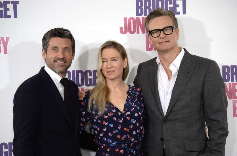 Patrick Dempsey, Renee Zellweger and Colin Firth attend a photocall for 'Bridget Jones Baby' at Villamagna Hotel on September 9, 2016 in Madrid, Spain.