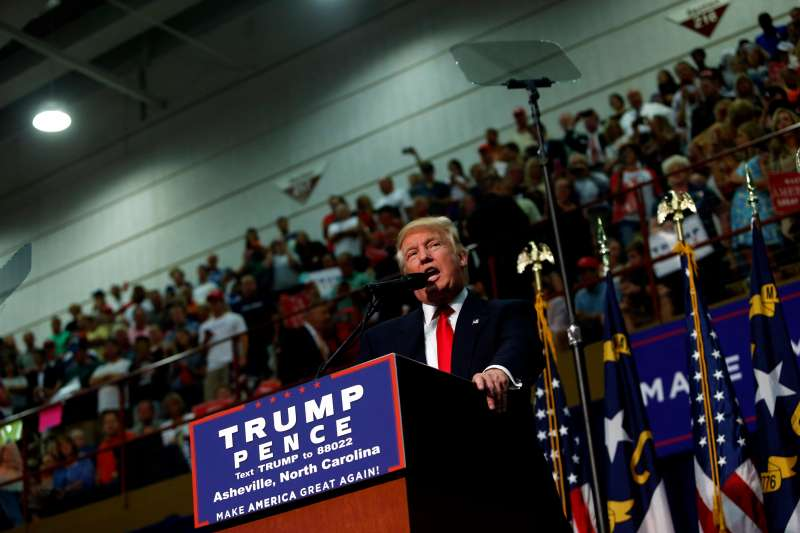 Republican presidential candidate Donald Trump speaks to supporters at a rally on September 12, 2016 at U.S. Cellular Center in Asheville, North Carolina.