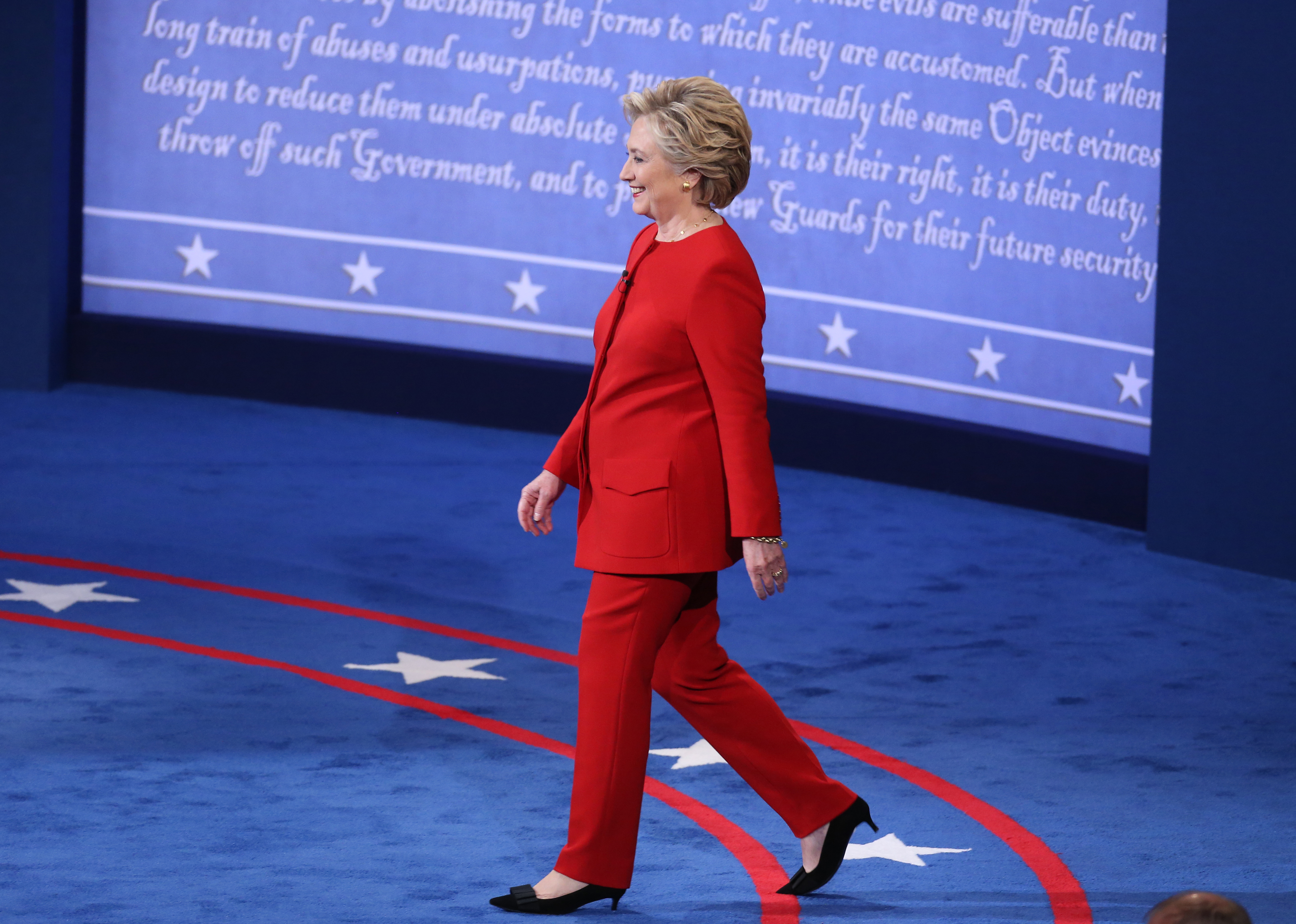 Hillary Clinton, 2016 Democratic presidential nominee, arrives on stage during the first U.S. presidential debate at Hofstra University in Hempstead, New York, U.S., on Monday, Sept. 26, 2016.