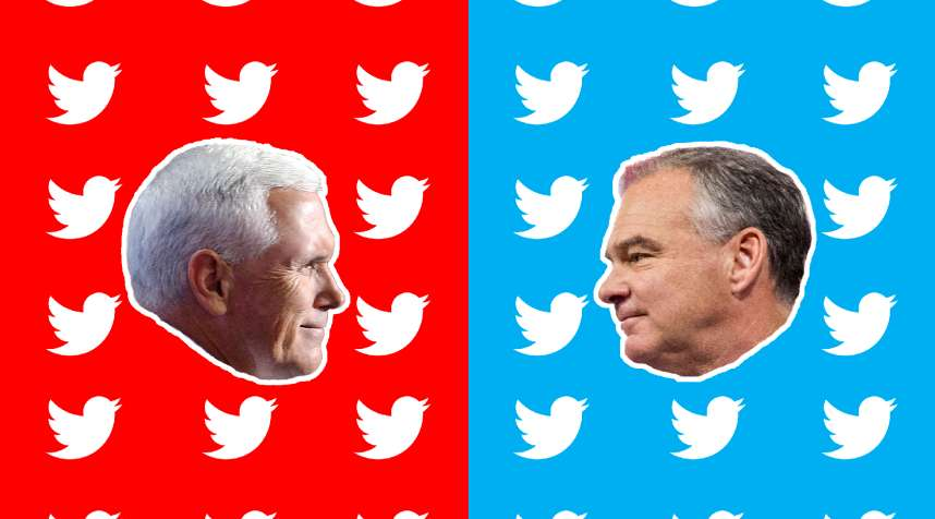 (left to right) Republican vice presidential candidate Mike Pence; Democratic vice presidential candidate Tim Kaine