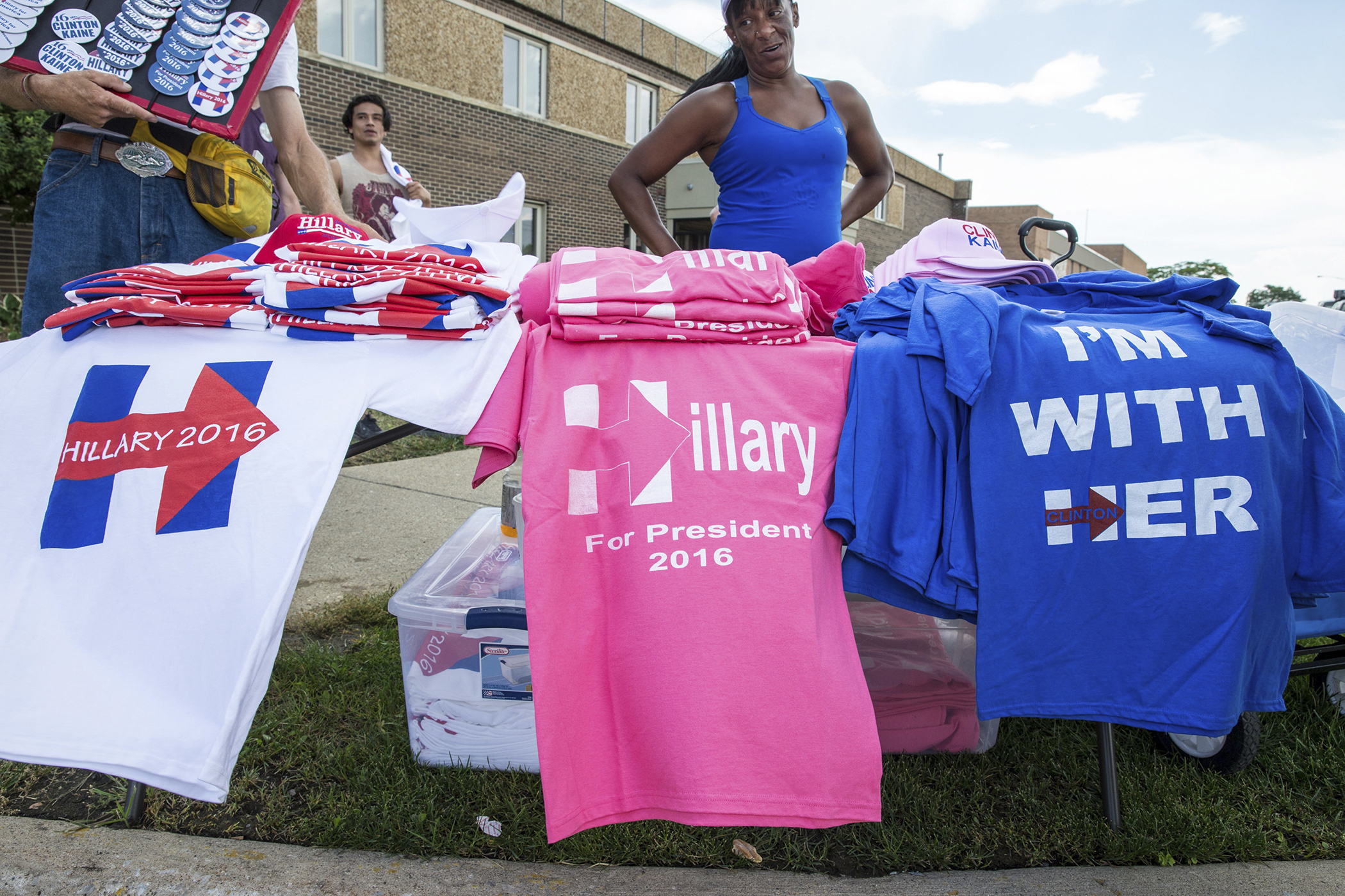 Hillary Clinton's memorabilia in Warren, MI, Aug. 11, 2016.