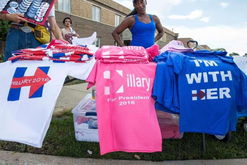 Hillary Clinton's memorabilia in Warren, MI, Aug. 11, 2016.