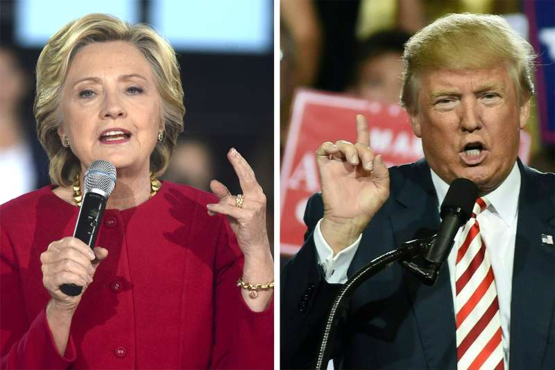 Democrat Hillary Clinton faces off against Republican Donald Trump on Sunday.