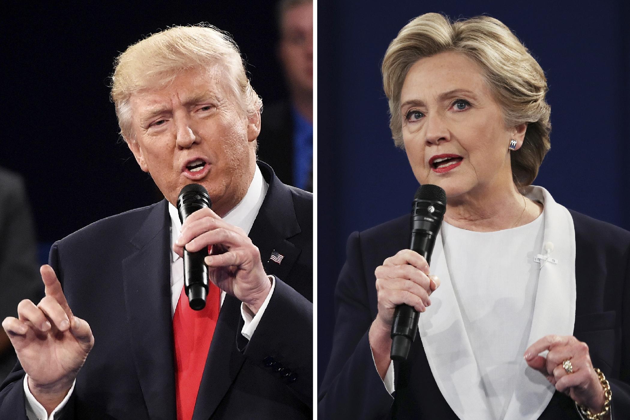 Republican nominee Donald Trump (L) faces off against Democratic nominee Hillary Clinton