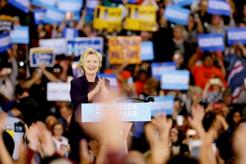 Democratic Presidential candidate Hillary Clinton speaks on the campus of Wayne State University at a voter registration event on Monday, Oct. 10, 2016 in Detroit, Michigan.