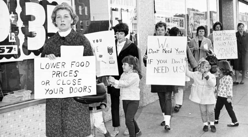 New York area picketers with kids in tow, October 1966.