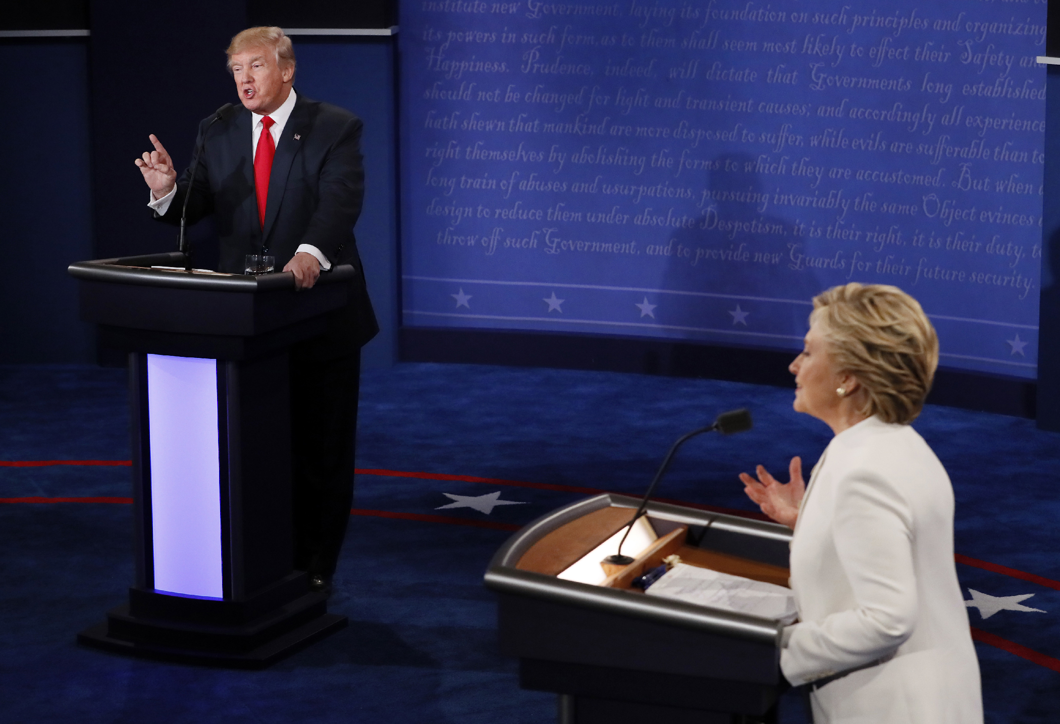Republican presidential nominee Donald Trump debates with Democratic presidential nominee Hillary Clinton during the third presidential debate at UNLV in Las Vegas, Wednesday, Oct. 19, 2016.