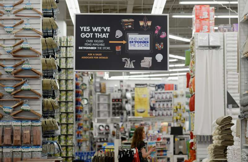 Signs are posted inside a Bed Bath & Beyond store  in Los Angeles, California.