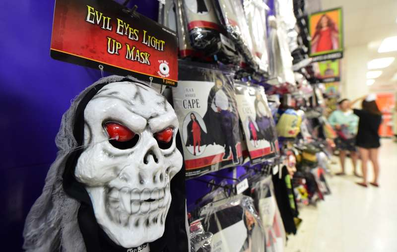 Masks are displayed for sale at a store selling Halloween merchandise in Alhambra, California.