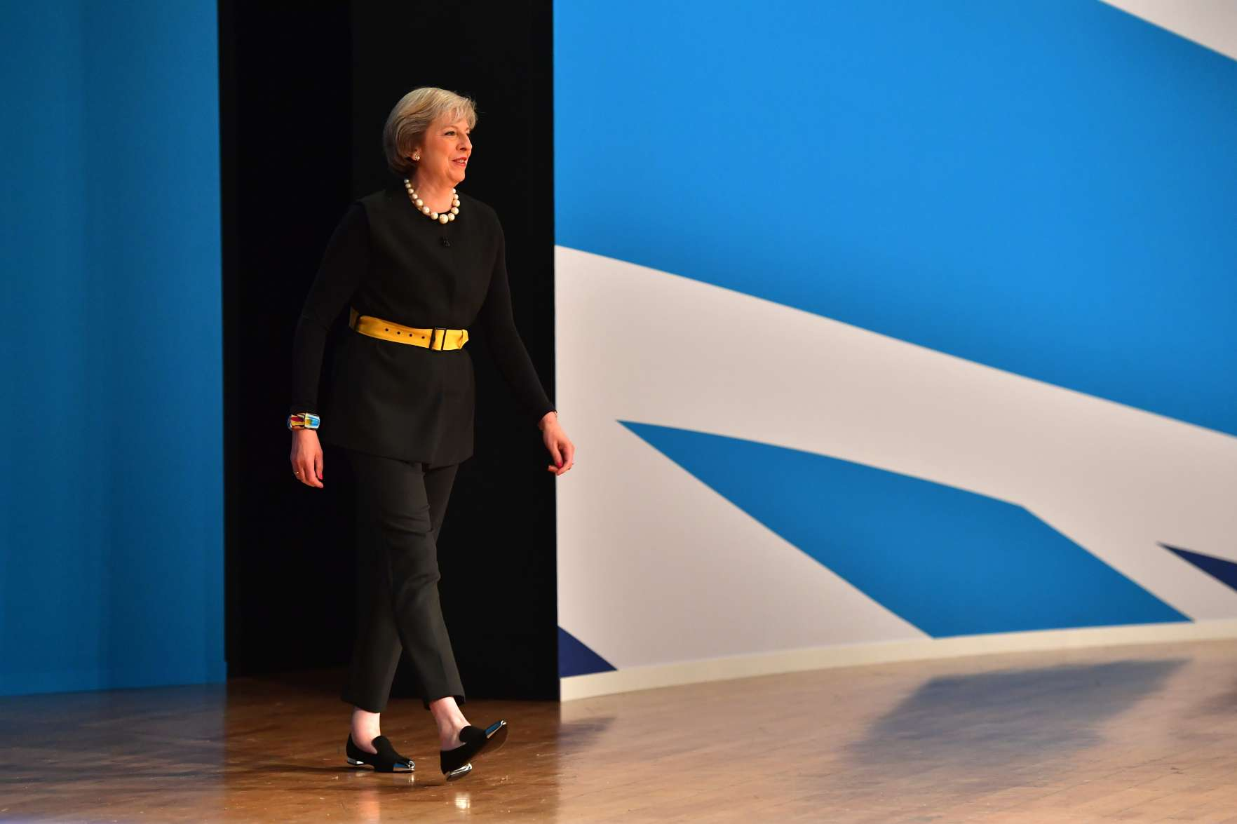 British Prime Minister Theresa May arrives to deliver a speech about Brexit on the first day of the Conservative Party Conference 2016  on October 2, 2016 in Birmingham, England.