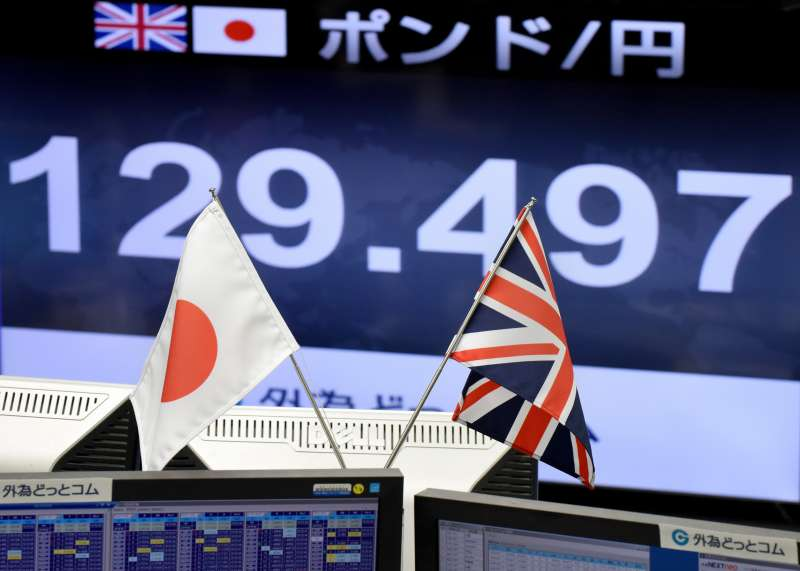 Japanese and British flags are placed in front of a monitor showing the Japanese yen rate against the British pound at a brokerage in Tokyo on October 7, 2016.             The pound suffered a  flash crash  in Asia on a computer-generated sell-off in the beleaguered currency, as tough talk from French President Francois Hollande underscored the perils ahead for Brexit-bound Britain.