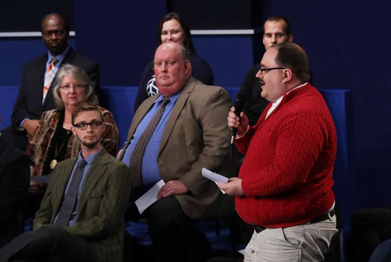 ST LOUIS, MO - OCTOBER 09:  Ken Bone asks a question during the town hall debate at Washington University on October 9, 2016 in St Louis, Missouri. This is the second of three presidential debates scheduled prior to the November 8th election.  (Photo by Chip Somodevilla/Getty Images)