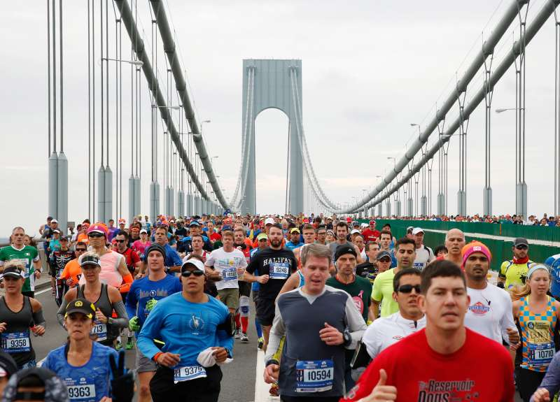 Runners cross the Verrazano-Narrows Bridge shortly after the start of the 2015 New York City Marathon.
