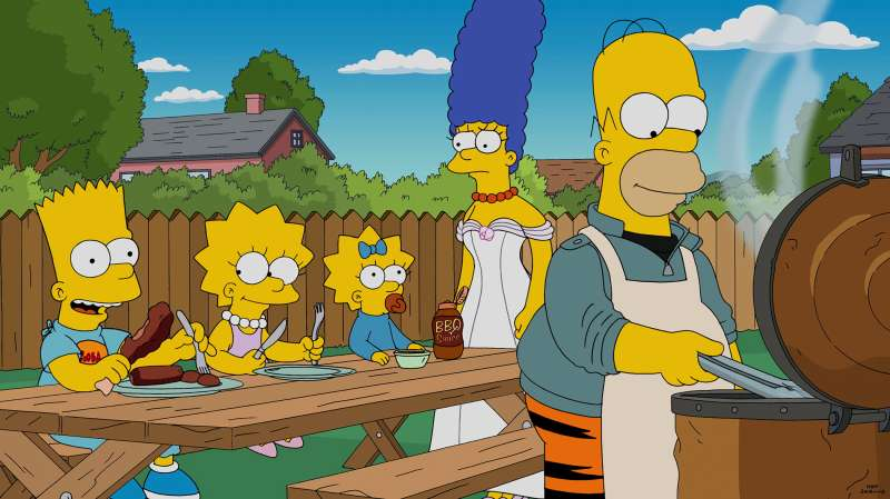 THE SIMPSONS, (from left): Pit Master (voiced by Edward James Olmos), Homer Simpson, 'Cue Detective', (Season 27, ep. 2702, aired Oct. 4, 2015).