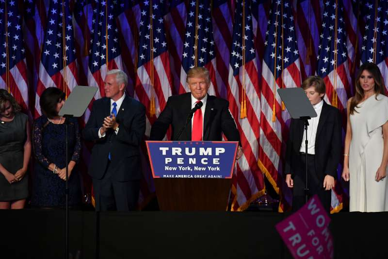 President-elect Donald Trump, with his family, addresses supporters at an election night event at the New York Hilton Midtown.