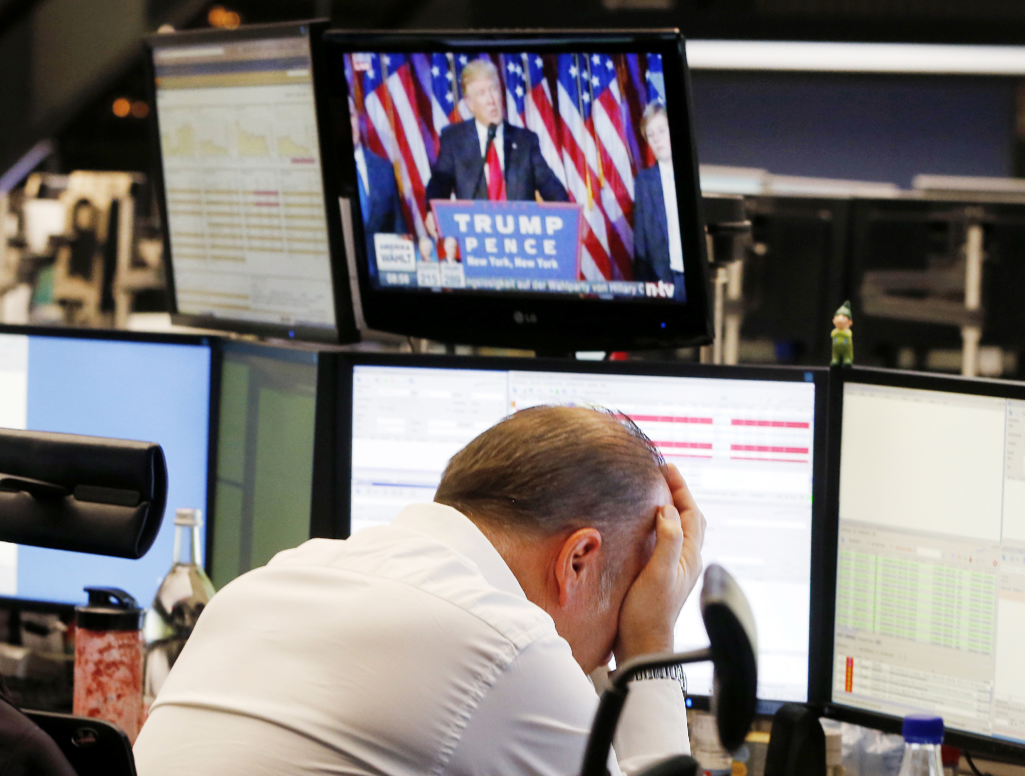 "In Germany, the DAX exchange <a href=""http://www.dw.com/en/markets-jittery-after-trump-wins-election/a-36317916"" target=""_blank"">fell</a> 3% after trading began, following news of Trump's victory."