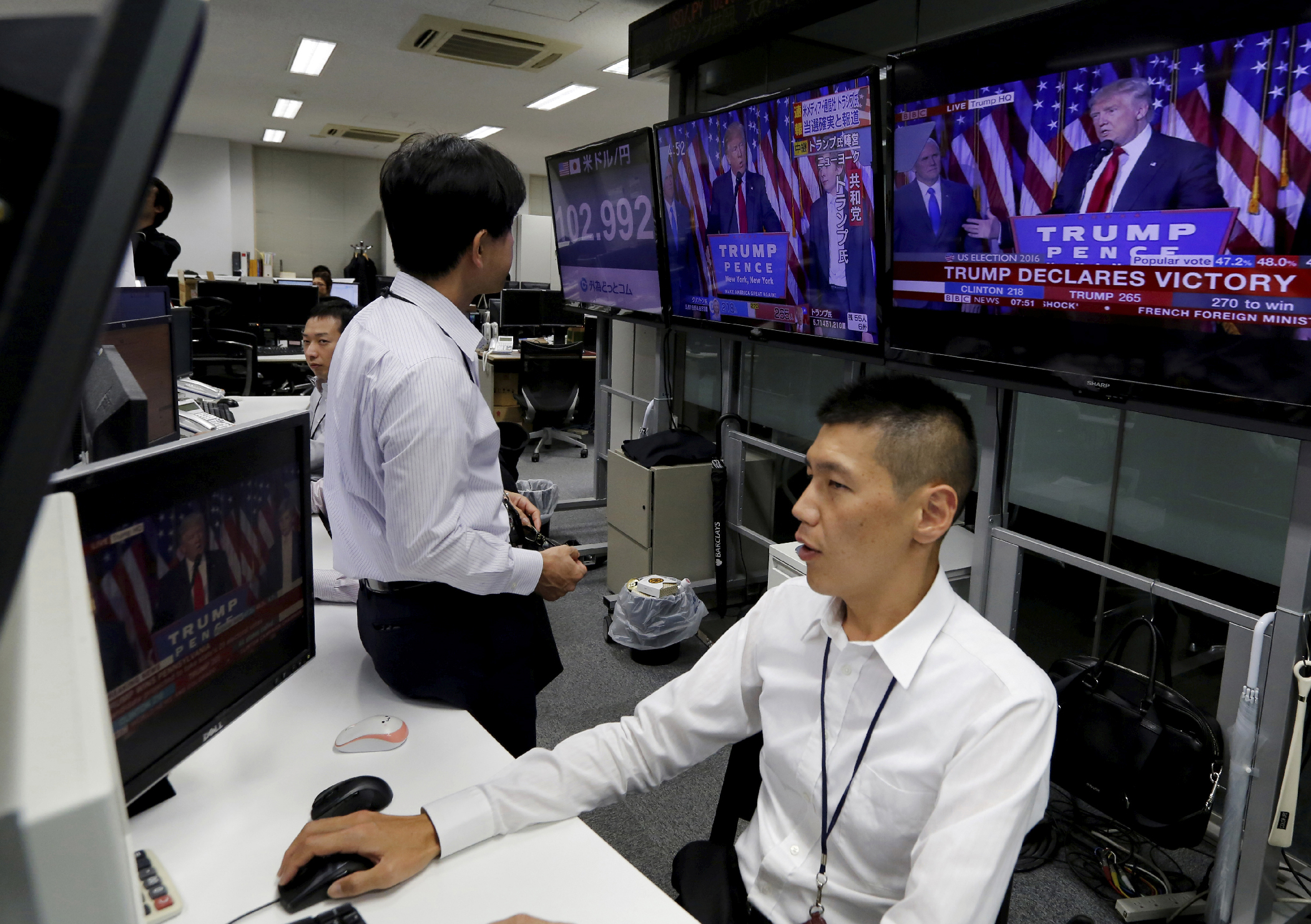 In Japan, traders working a foreign exchange desk watch U.S. election results. The Nikkei index fell more than 900 points as Trump's win became real.