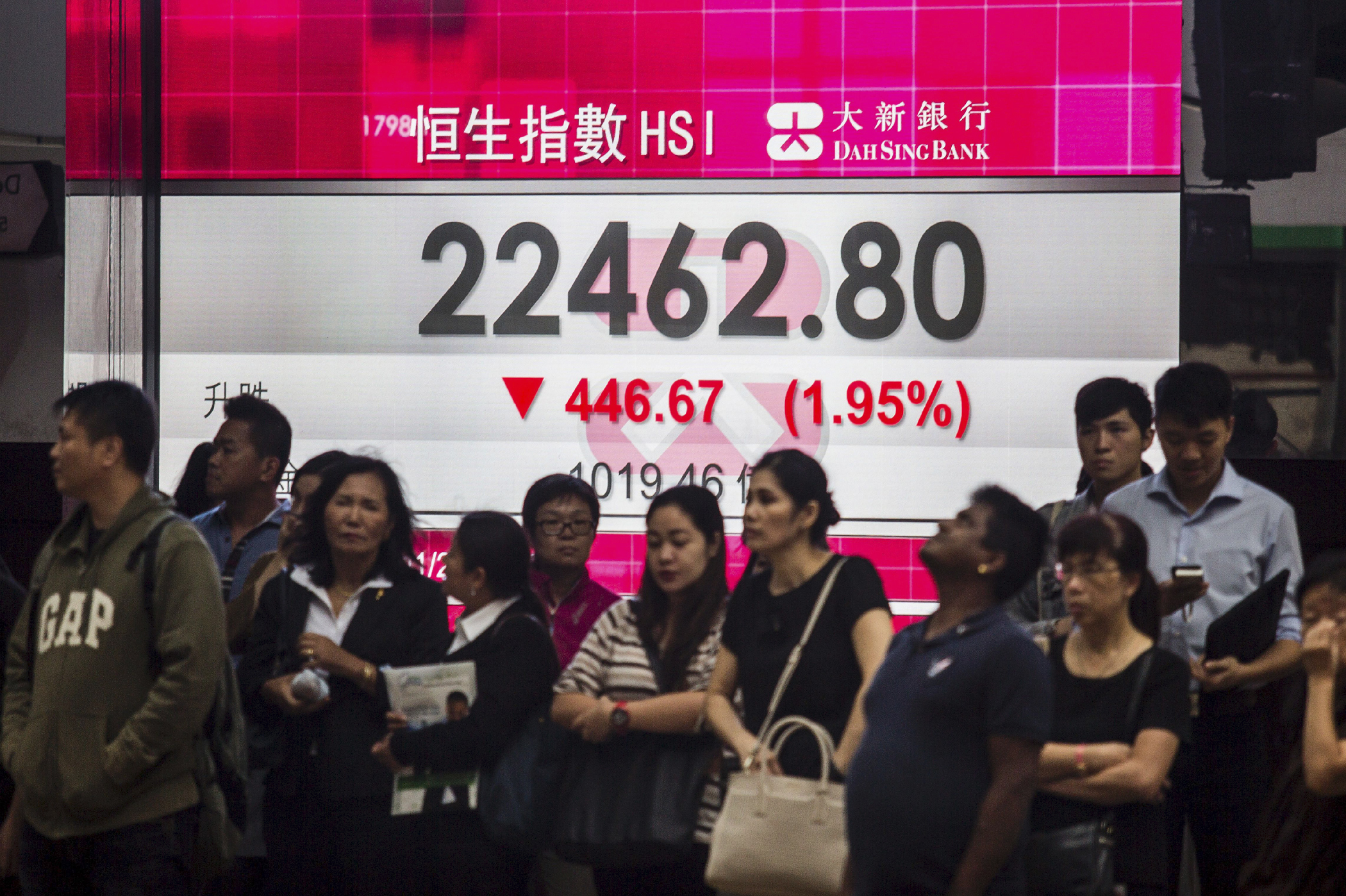"Asian markets were up and running during the wee hours of the morning in the U.S., when Trump's gain on electoral college votes surpassed Clinton's. Hong Kong's Hang Seng index <a href=""http://www.latimes.com/nation/politics/trailguide/la-na-election-day-2016-asian-markets-slump-in-reaction-to-1478675294-htmlstory.html"" target=""_blank"">fell to 2.6%.</a>"