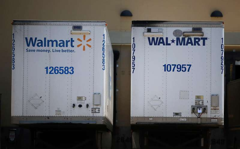 Walmart truck trailers sits parked in the loading dock of a Walmart store on June 11, 2015 in San Leandro, California.