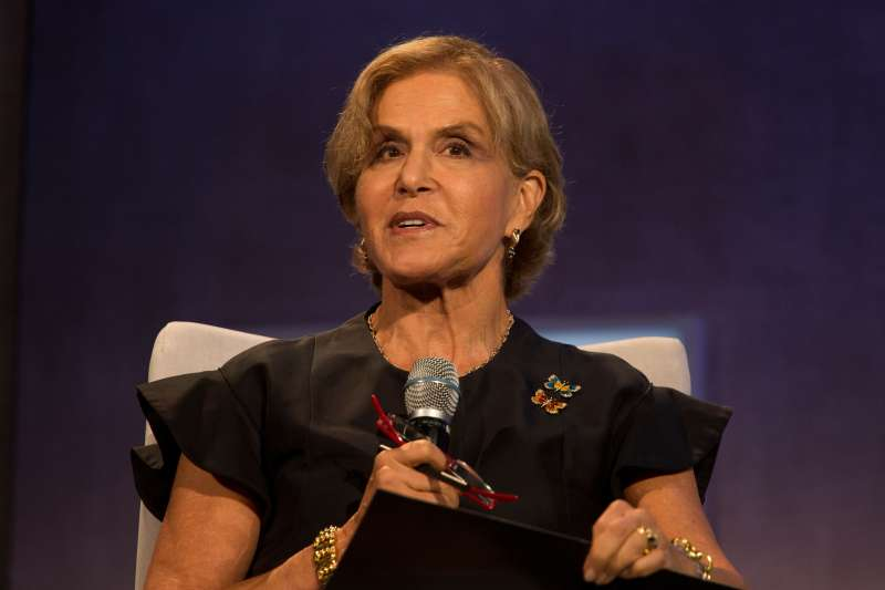 Judith Rodin, president of The Rockefeller Foundation, speaks during the annual meeting of the Clinton Global Initiative in New York.