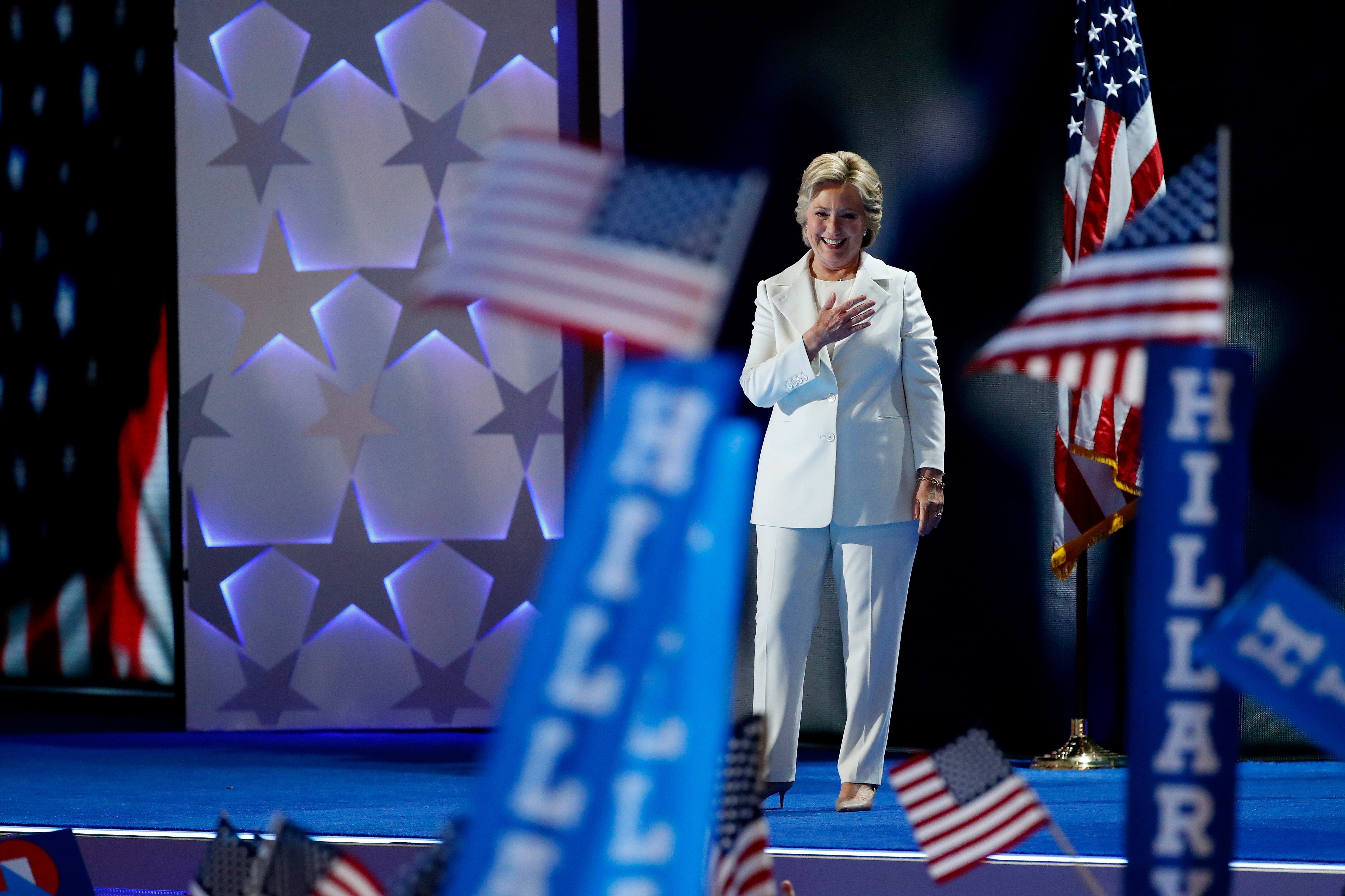 Hillary Clinton on stage at the Democratic National Convention.