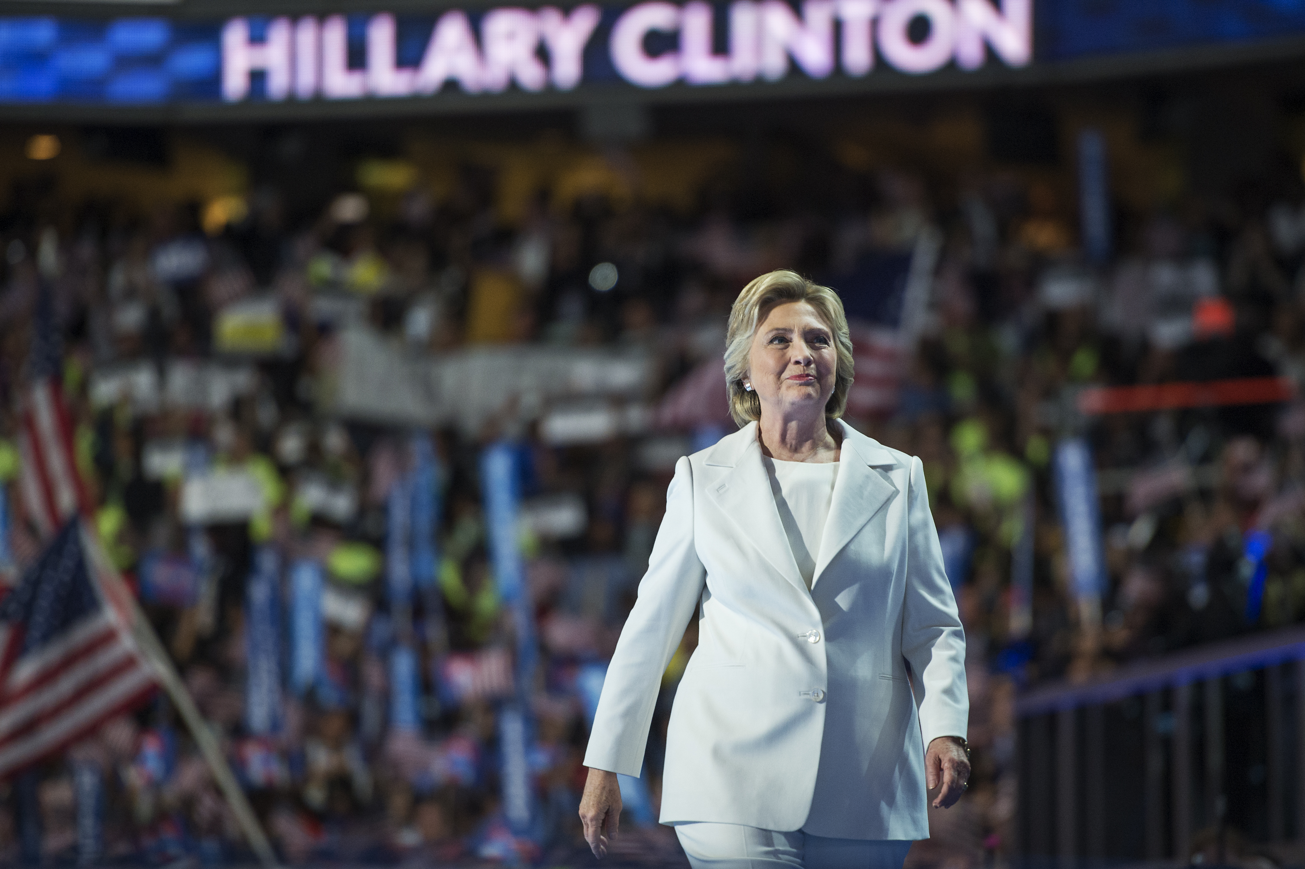 Hillary Clinton arrives to address the crowd on the stage of the Wells Fargo Center in Philadelphia, Pa., on the final night of the Democratic National Convention.