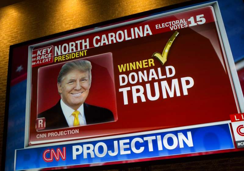 A picture of Donald J Trump appears on a CNN television program after the Republican party nominee won the vote from the state of North Carolina at the Hilton Hotel on November 9, 2016 in New York City.