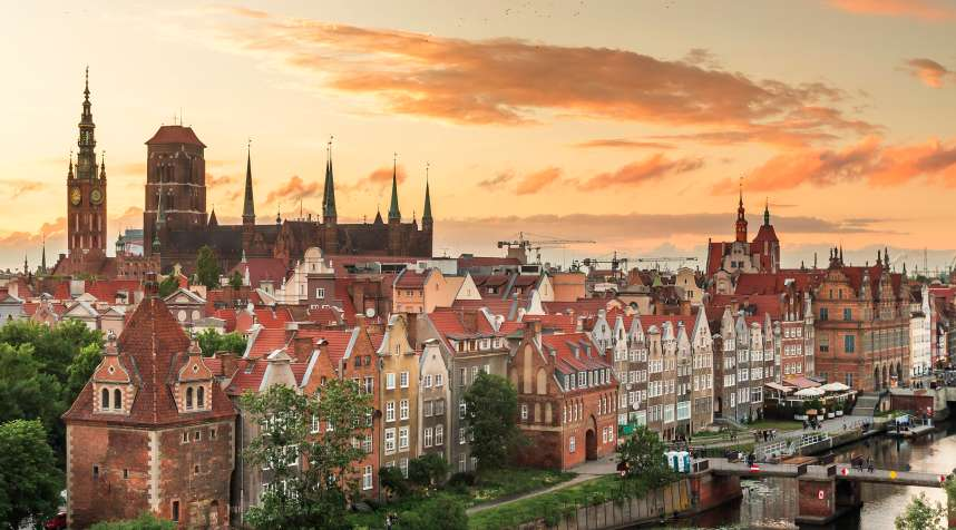 Historical center of Gdansk, town hall and St. Mary's Church at evening