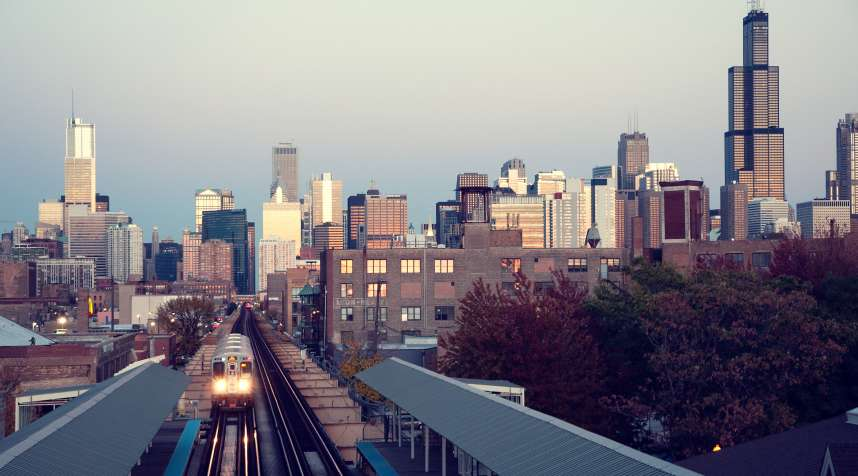 Chicago Skyline from one of the loop train stations