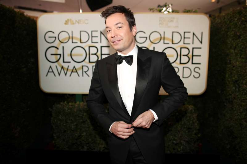 Host Jimmy Fallon arrives to the 74th Annual Golden Globe Awards