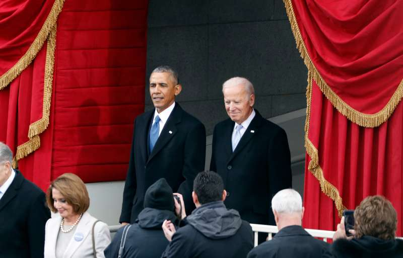 Obama and Biden attend the inauguration ceremonies to swear in Donald Trump as the 45th president of the United States at the U.S. Capitol on Jan. 20, 2017.