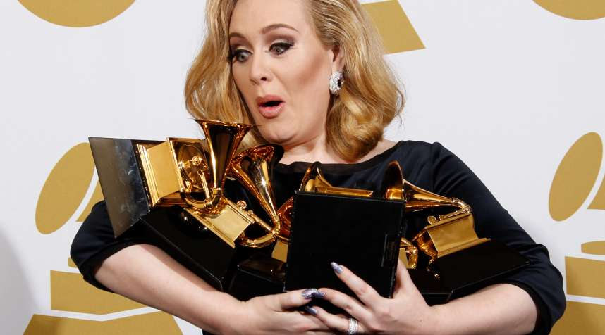 LOS ANGELES, CA - FEBRUARY 12: Singer Adele poses in the press room at the 54th Annual GRAMMY Awards held at the Staples Center on February 12, 2012 in Los Angeles, California. (Photo by Dan MacMedan/WireImage)