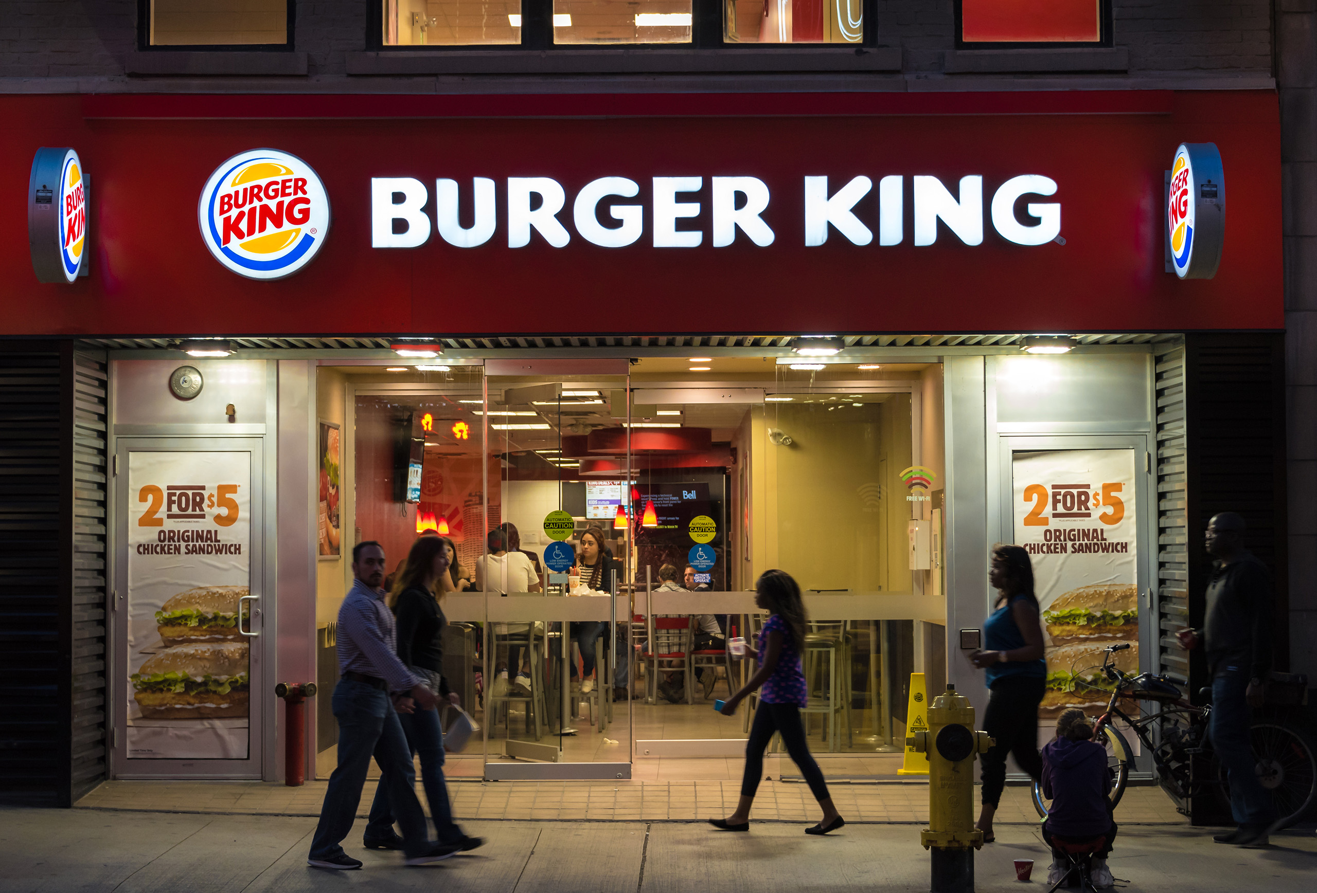 People dining at the Burger King restaurant in Toronto.