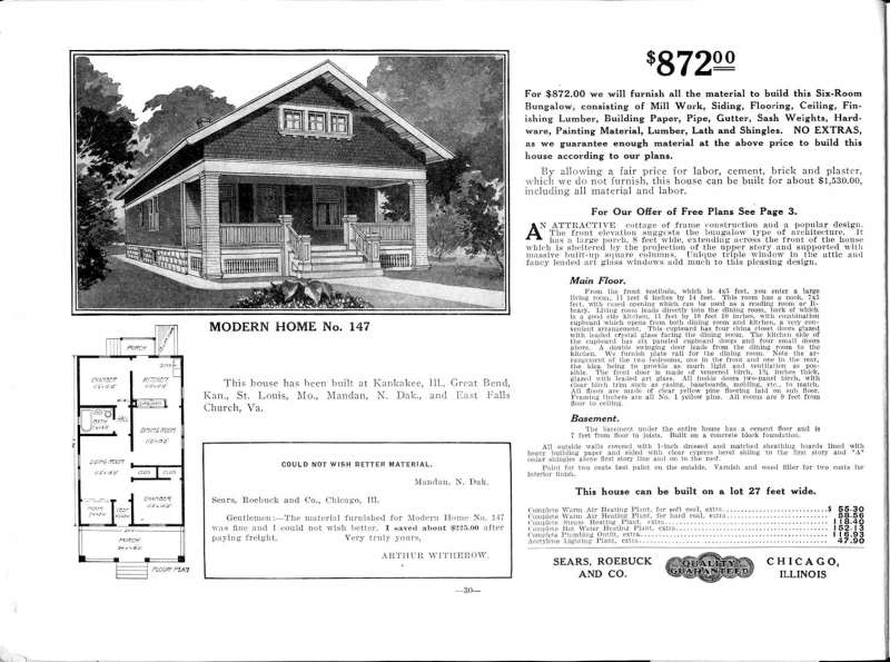 Sears sold a variety of plans and materials for houses, including Modern Home No.147, available for $872 in 1913.