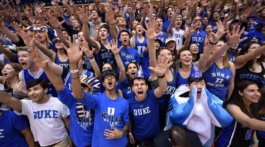 Cameron Crazies and fans of the Duke Blue Devils cheer prior to their game against the Wake Forest Demon Deacons at Cameron Indoor Stadium on February 18, 2017 in Durham, North Carolina. Duke won 99-94.