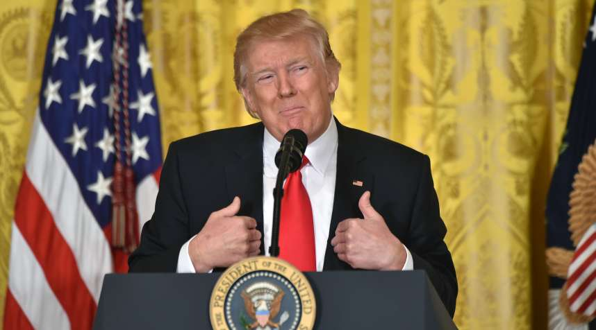 US President Donald Trump speaks during a press conference on February 16, 2017 to announce Alexander Acosta as his new nominee to head the US Department of Labor.