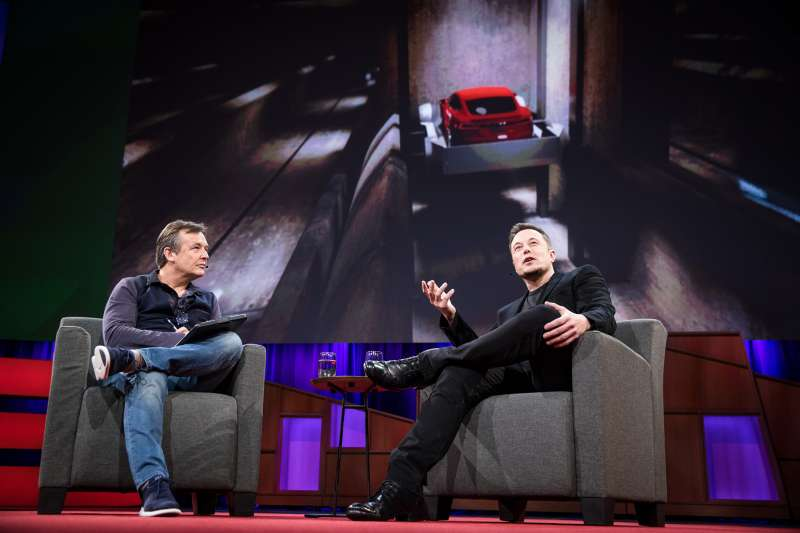 Chris Anderson interviews Elon Musk at TED2017 in Vancouver.