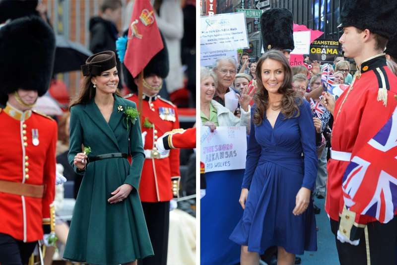 (left) Britain's Catherine, Duchess of Cambridge presents shamrocks to members of the 1st Battalion Irish Guards  during a visit to Aldershot Barracks in Aldershot, southern England March 17, 2012; (right) Catherine, Duchess of Cambridge look-alike Heidi Agan, a 32-year-old mom from Corby, Northamptonshire, England visits ABC's  Good Morning America  at ABC Studios on October 5, 2012 in New York City.
